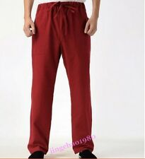 Mens Exercise Chinese Style Casual Pants Tai Chi Morning Cotton Linen Trousers