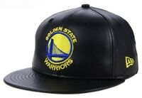 New Era 5950 GOLDEN STATE WARRIORS Leather Black Cap NBA Baseball Fitted Hat