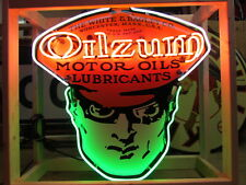 """New Porcelain Single-Sided Oilzum Neon Sign 48"""" Wide x 48"""" High"""