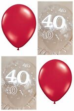 Red & Clear Printed 40 RUBY WEDDING ANNIVERSARY BALLOONS / Party Decorations x12