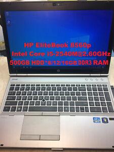 "HP EliteBook 8560p_IntelCore i5-2540M@2.6GHz_500GB HDD_8/12/16GB RAM_15.6""Screen"