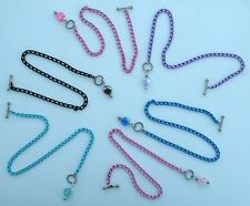 ankle bracelet w/ heart toggle pendant Color & Size Choice Nickel Free aluminum