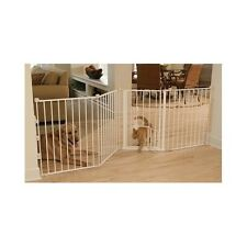 Dog Gate Fence Pet Cat Folding Barrier Door Walk Thru Large Steel Baby Security
