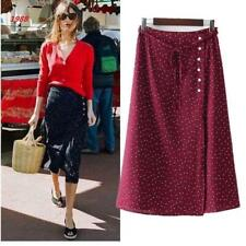 Womens Polk Dot Slim Button Midi Skirts Retro French Sweet Navy & Burgundy Dress