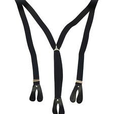 Black Unisex Suspender Braces Adjustable with Button Holes Lycra/Elastane UK