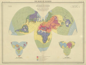 Spread of civilisation from antiquity to 1940. World on Kite Projection 1947 map