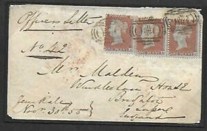 """1855 envelope from the British Army in the Crimea with rare """"OXO"""" cancellations."""