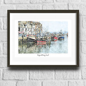 Weymouth Quay Art Print Weymouth Quay  Poster Art Print, Illustration, digita...