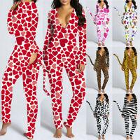 Women Amimal Print V Neck Nightwear Jumpsuit Bodysuit Playsuit Romper Pajamas