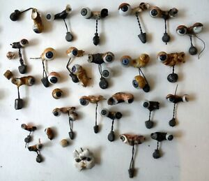 Huge Lot of Antique Glass Doll Eyes Singles with Sleep-Eye Mechanisms P7