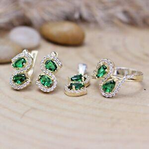 Turkish Handmade Emerald Silver 925 Set Ring Earring Pendant Ring 6-12
