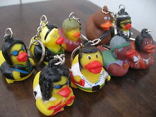 9 Rubber Duck Key Chain Lot Rock Star Duckmainia Ducky Ozzy Elvis Garcia Aretha