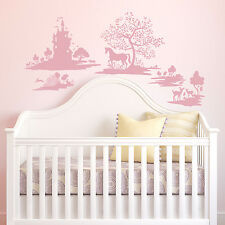Pink Fable Wall Decals DwellStudio Baby Nursery Stickers Princess Castle Decor