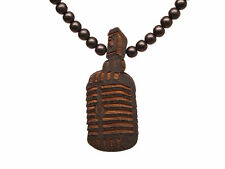 Good Wood New York Black Vintage Microphone Pendant Wooden Beaded Necklace NWT