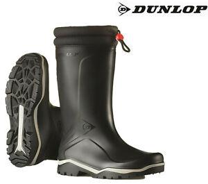 Dunlop Blizzard Warm Fleece-Lined Padded Collar Wellington Wellies Boots Black