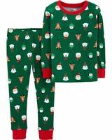 Carter's Christmas Pajamas Toddler 3T Green Bear Reindeer Santa Toddler Holiday