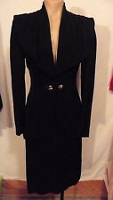 STUNNING 40s Black Suit w/ Shawl Collar & 2 Metal KNOT Buttons by S Roth sz xs-s