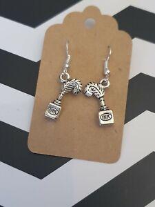 Ink Bottle Quill Writing Old School love Jewellery Silver Plated Dangle Earrings