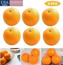 6Pcs Artificial Oranges Plastic Faux Fake Fruit Oranges Home Kitchen Decoration