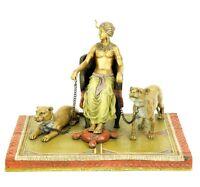 Vienna Bronze - Pharaoh with Lionesses - Bergmann - Carpet Bronze - Sculpture