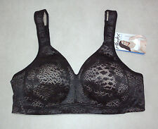 Playtex: 18 HOUR: Size: 16 D. Fittingly Fabulous WireFree Stylish BLACK Lace Bra