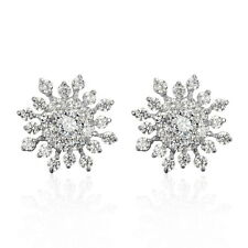 Sterling Silver 925 Ladys Halo Stud Earring Womens Round Cut CZ Love Cluster