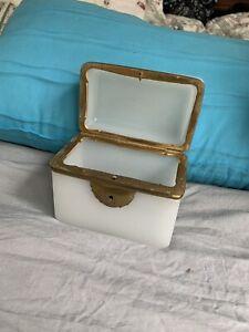 Antique White Opaline Glass Tea or Sugar Box   France   19th Century   1870-1880