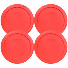 """Pyrex 7201-PC 6"""" Red Round Replacement Cover Lid New for 4 Cup Glass Bowl 4PK"""