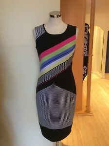 Picadilly Dress Size XS 10 BNWT Black Pink Green White Striped RRP £123 Now £55