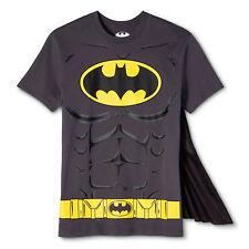 Men's Gray Batman Logo With Muscles T-Shirt & Detachable Black Cape Size Small