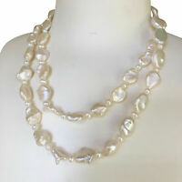 Elegant High Luster 11-15mm freshwater Pearl Baroque necklace Natural white 46cm