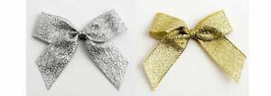 5cm Self Adhesive Pre Tied Metallic Lurex Bows 15mm Ribbon Packs Of 1/6/12