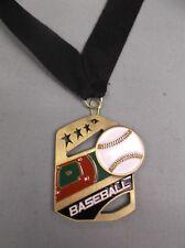 gold Baseball medal with black neck drape color enamel ball