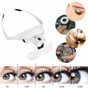 Eyelash Extension LED Light w/ Magnifier Eyelash Extension Glasses Makeup Lamp