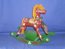 Vintage Christmas Wooden Rocking Horse Music Box 10½ inch Circa 1980s It Works!