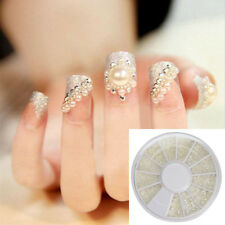 3D White Pearl Beads Nail Art Tips Acrylic Gem Glitter Manicure DIY Decoration