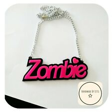 Zombie Love Acrylic Necklace🧟 Pink ✨ Large ✨ Quirky 🌛 Halloween