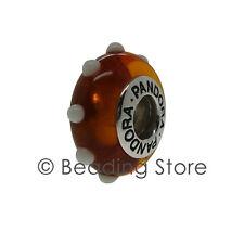 NEW Pandora Seeing Spots Amber Brown White Murano Glass Charm Rare 790632 79632