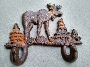 Vintage style Rustic cast iron Elk Key Holder With Hooks Wall Mounted Nature