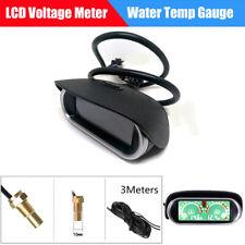 2 IN 1 Car LCD Digital Water Temp Temperature Gauge + Voltmeter + 10mm Sensor