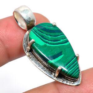 "Russian Malachite Vintage Gemstone 925 Sterling Silver Pendant Jewelry 1.6"" M578"