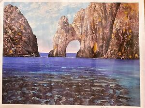 "Howard Behrens Los Arcos Cabo San Lucas Huge 30""x40"" Canvas Sign Number COA."