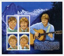 Tanzania John Denver 1970's American Folk Music Hero Stamp- Sheetlet of 4