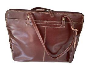 Lloyd Baker London Brown Leather Laptop Briefcase Shoulder Straps Organisation