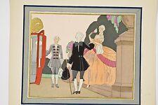 """Pochoir vers 1940 Femme de qualité XVIII° """"Marquise"""" et chaise à porteur"""