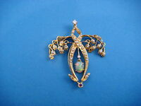 14K GOLD ANTIQUE PENDANT LILY OF THE VALLEY DESIGN 6 GRAMS 1.5 X 1.3 INCHES