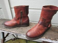 NEW Olukai NAHUKU SHORT Brown Leather Ankle Boot US 6.5 Side Zip Buckle Strap