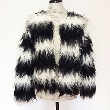 Love Riche Shaggy Fur Coat Small White Black Striped Womens Jacket Winter Fall S