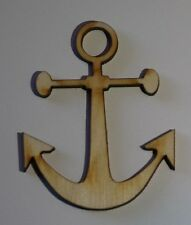 (3) 2 Inch x 1.6 Inch Anchor Nautical Craft Project Wood Cutout ANCHOR1