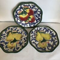 "Fitz and Floyd Florentine 3 Plates  Fruit Pattern 2 Pears 1 Apple 9"" Classics"